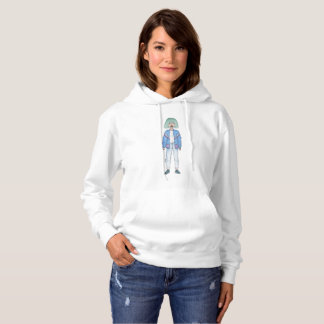 Girl with turquoise hair color hoodie