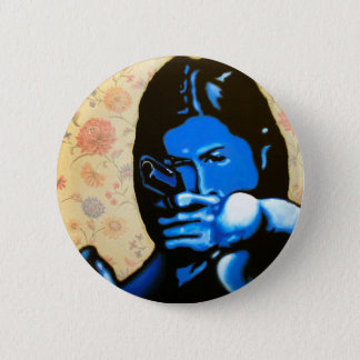 """""""Girl with Two Guns"""" by Axel Bottenberg 2 Inch Round Button"""
