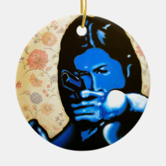 """""""Girl with Two Guns"""" by Axel Bottenberg Ceramic Ornament"""