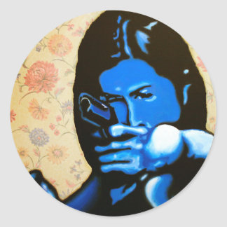 """Girl with Two Guns"" by Axel Bottenberg Classic Round Sticker"