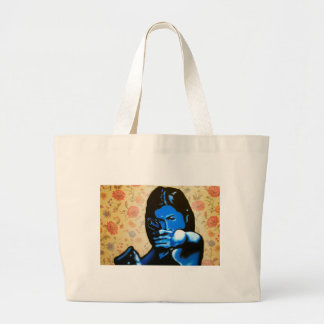 """""""Girl with Two Guns"""" by Axel Bottenberg Large Tote Bag"""