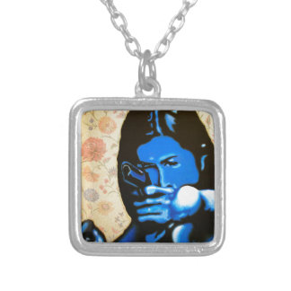 """""""Girl with Two Guns"""" by Axel Bottenberg Silver Plated Necklace"""
