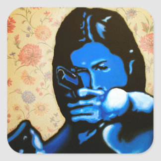 """Girl with Two Guns"" by Axel Bottenberg Square Sticker"