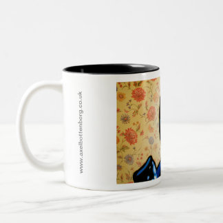 """Girl with Two Guns"" by Axel Bottenberg Two-Tone Coffee Mug"