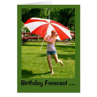 Girl With Umbrella 100% Chance Of Birthday Fun Card