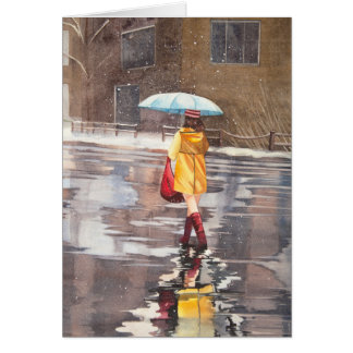 Girl with umbrella special card