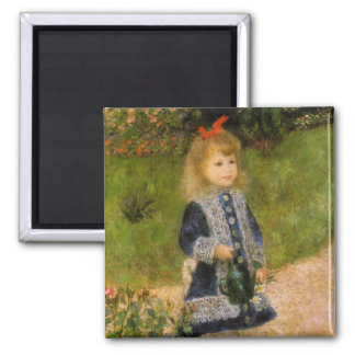 Girl with Watering Can Square Magnet