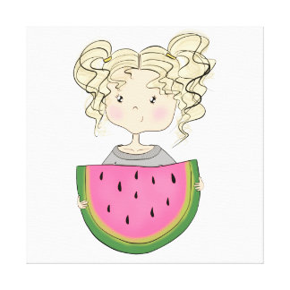 Girl With Watermelon Canvas Print