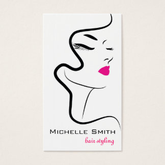 Girl with wavy hair Hairstyling branding icon Business Card