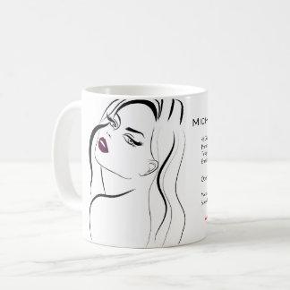 Girl with wavy hair Hairstyling branding icon Coffee Mug