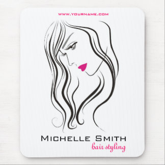 Girl with wavy hair Hairstyling branding icon Mouse Pad
