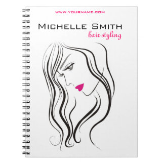 Girl with wavy hair Hairstyling branding icon Notebook