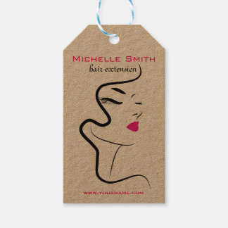 Girl with wavy hair Hairstyling branding icon Pack Of Gift Tags