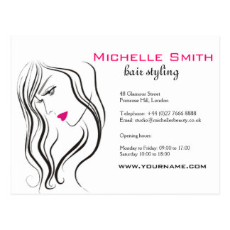 Girl with wavy hair Hairstyling branding icon Postcard