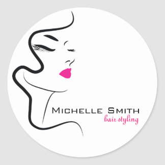 Girl with wavy hair Hairstyling branding icon Round Sticker