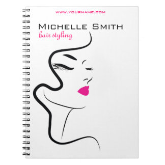 Girl with wavy hair Hairstyling branding icon Spiral Notebook