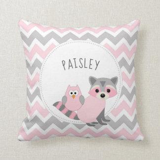 Girl Woodland animal bedroom decor + name Throw Pillow