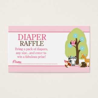 Girl Woodland Animals Baby Shower Diaper Raffle Business Card
