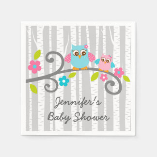 Girl Woodland Owl Personalized Napkins Paper Napkin