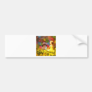 girl yellow flowers3use bumper sticker