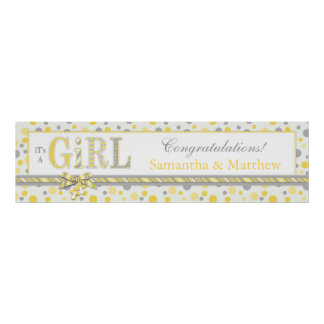 GIRL Yellow Gray Dots Baby Shower Banner Poster