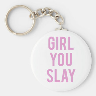Girl You Slay Pink Print Keychain