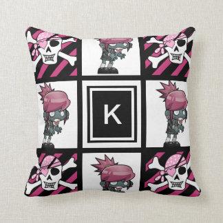 Girl Zombies & Pirates Throw Pillow