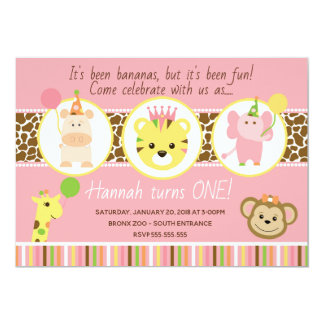 Girl Zoo Birthday Party Invitation