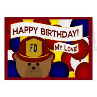 Girlfriend - Happy Birthday Firefighter Hero! Greeting Card