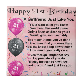 Girlfriend poem - 21st Birthday Design Tiles