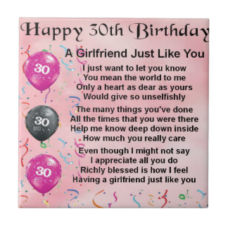 Girlfriend poem - 30th birthday design tile