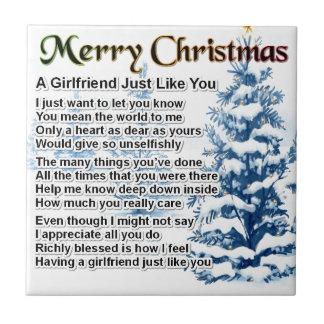 Girlfriend Poem - Christmas Design Tiles