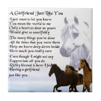 Girlfriend poem - Horses Design Ceramic Tiles