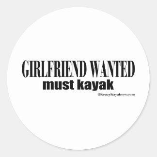 girlfriend wanted classic round sticker