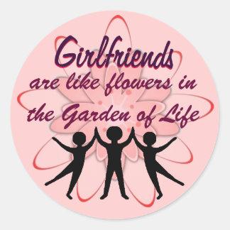 girlfriends classic round sticker