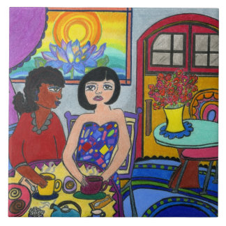 Girlfriends in a Cafe Ceramic Tile