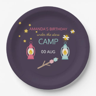 Girlie Glamping Party personalised Paper Plate