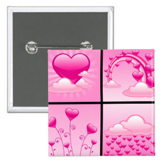 Girlie Pink Hearts Of Love 2 Inch Square Button