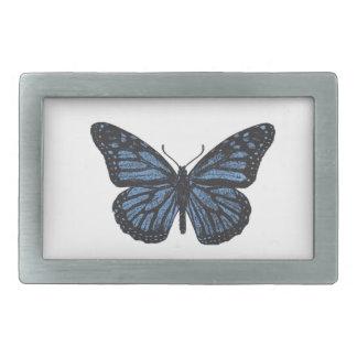 Girlie Vintage Monarch Butterfly Blue Rectangular Belt Buckle
