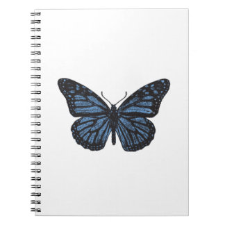 Girlie Vintage Monarch Butterfly Blue Spiral Notebook