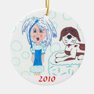 GirlInBlue-StBernard, 2010 Round Ceramic Ornament