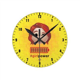 #girlpower Black Widow Emoji Round Clock