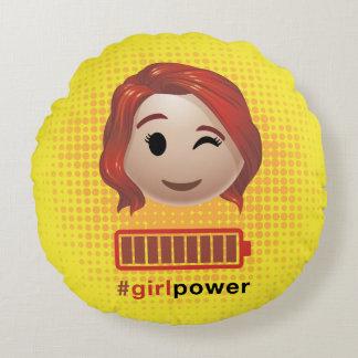 #girlpower Black Widow Emoji Round Pillow