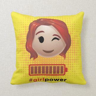 #girlpower Black Widow Emoji Throw Pillow