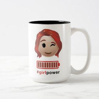 #girlpower Black Widow Emoji Two-Tone Coffee Mug