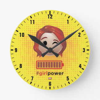 #girlpower Black Widow Emoji Wall Clock