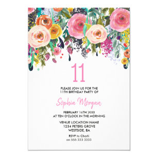 Girls 11th Birthday Party Invite Pink Flowers
