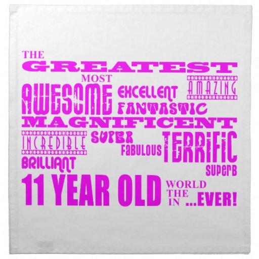 Girls 11th Birthdays : Pink Greatest 11 Year Old Napkin