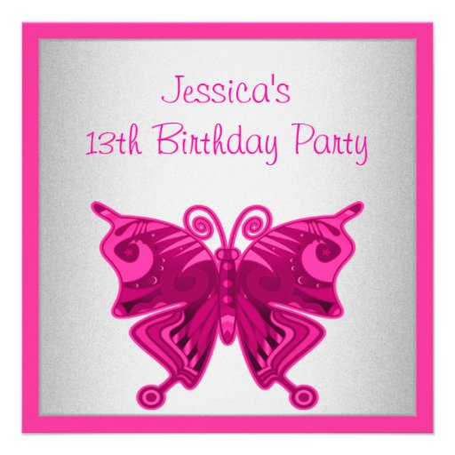 Girls 13th Birthday Bright Pink Butterfly Silver Invite