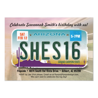 Girl's 16th Birthday Arizona License Invitation
